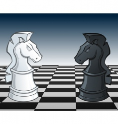 chess knights faceoff illustration vector image vector image