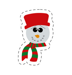 Cute snowman christmas cut line vector