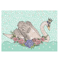 Cute swan with crown and flowers vector