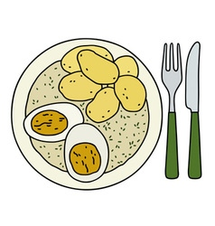 Dill sauce with potatoes vector