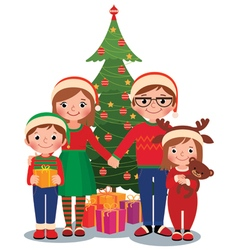 Family at Christmas tree with gifts vector image