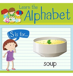 Flashcard letter S is for soup vector image