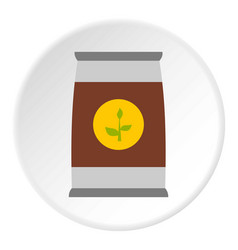 Flower seeds in package icon circle vector