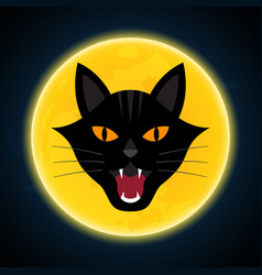 halloween growl black cat head and moon vector image vector image