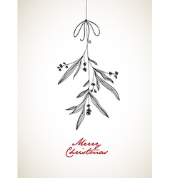 Handwritten Christmas with hanging mistletoe vector image