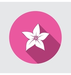 Lily flower icon Floral symbol Round circle flat vector image vector image