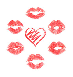 lips prints on white background vector image vector image