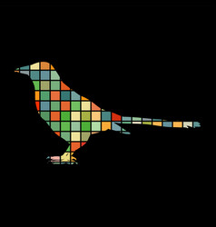 magpie bird mosaic color silhouette animal vector image
