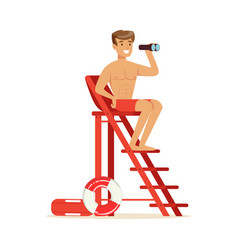 Male lifeguard sitting on lookout tower and vector