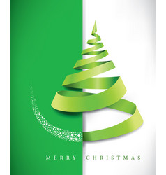 merry christmas banner with green ribbon vector image