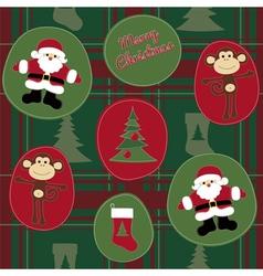 Monkey merry christmas vector