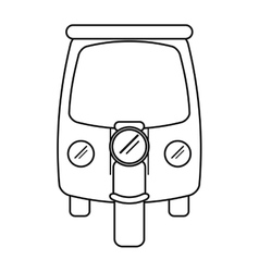 motor rickshaw transport tricycle outline vector image