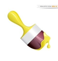 Paint brush realistic yellow icon vector image vector image