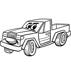 pickup car cartoon coloring page vector image