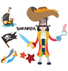 Pirate captain cartoon for gaming mobile vector