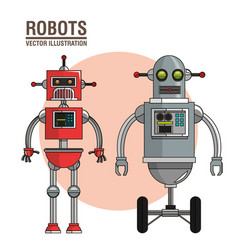 Robots science interface image vector