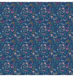 Seamless pattern heart doodles background vector