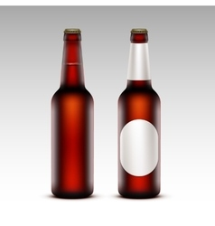 Set of Bottles Dark Beer with without White labels vector image