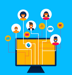 Social media network app concept on computer vector