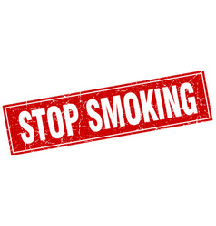 Stop smoking red square grunge stamp on white vector