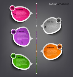 Time line info graphic with colored stickers vector