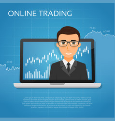 trading online concept with businessman on the vector image vector image