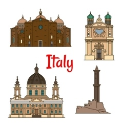 Travel landmarks of italy thin line icons vector