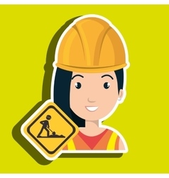 Woman construction drill helmet vector
