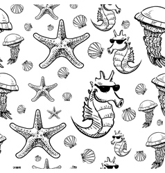 Sea animals sketch background vector