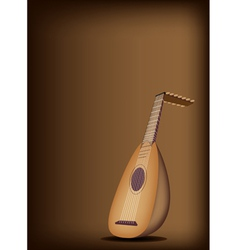 A Beautiful Antique Lute on Dark Brown Background vector image
