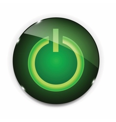 Glass power button icon vector