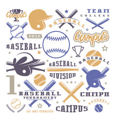 Icons and badges set of baseball team vector