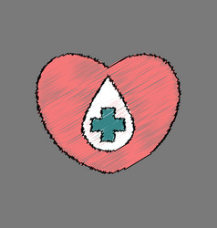 Flat shading style icon heart with a cross vector