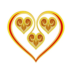 Valentines day valentine heart gold and red vector