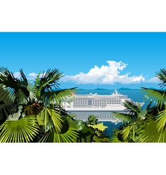 Palm trees and ocean liner sails on the sea vector