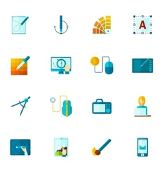 Graphic design icons flat vector