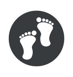 Monochrome round footprint icon vector
