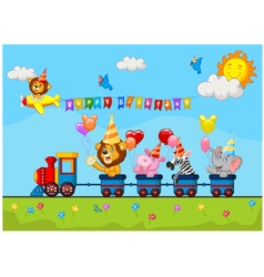 Birthday background with happy animal on train vector