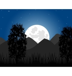 Rise of the moon on mountain vector
