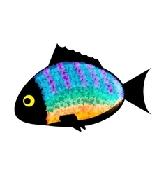 Fish colored silhouette on white background vector image