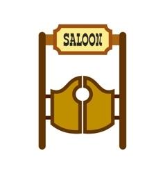 Old western swinging saloon doors icon vector image