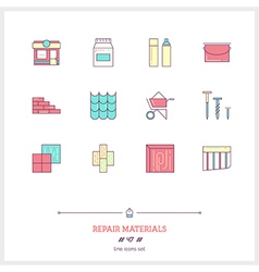 Repair materials line icons set vector