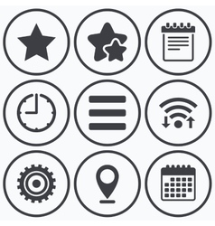 Star and menu list signs notepad gear vector