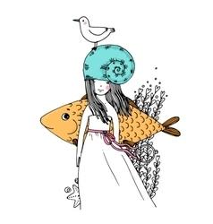 Girl fish seagulls seaweed starfish and a ring vector