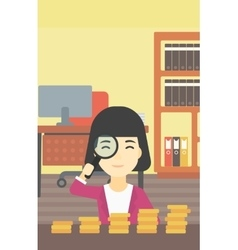 Woman with magnifier looking at golden coins vector