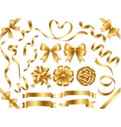 a set of gold ribbons vector image