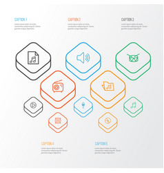 Audio outline icons set collection of plastic vector