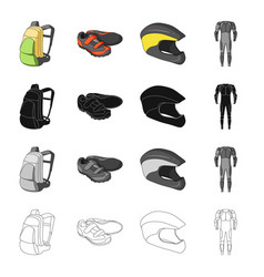 Backpack equipment bicyclist sneakers protective vector