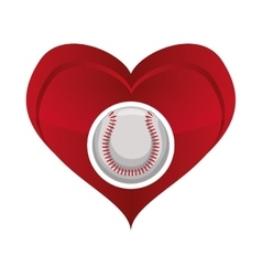 Ball heart baseball sport design vector