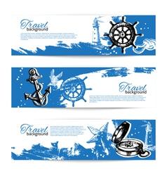 Banner set of travel vintage backgrounds vector